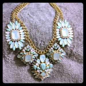 Jewelry - Gold turquoise and white statement necklace